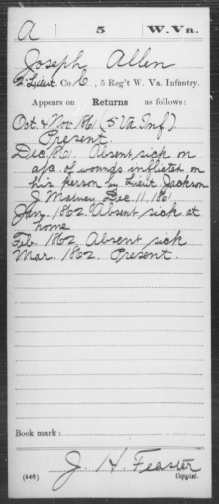 Allen, Joseph - Age [Blank], Year: 1861 - Miscellaneous Card Abstracts of Records - West Virginia