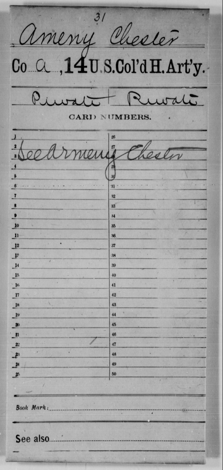 Ameny, Chester - Age [Blank], Year: [Blank] - 14th US Colored Heavy Artillery - United States Colored Troops: Artillery Organizations