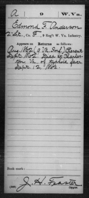 Anderson, Edmond F - Age [Blank], Year: 1862 - Miscellaneous Card Abstracts of Records - West Virginia