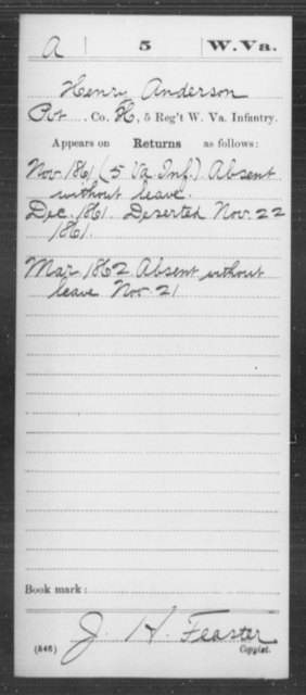 Anderson, Henry - Age [Blank], Year: 1861 - Miscellaneous Card Abstracts of Records - West Virginia