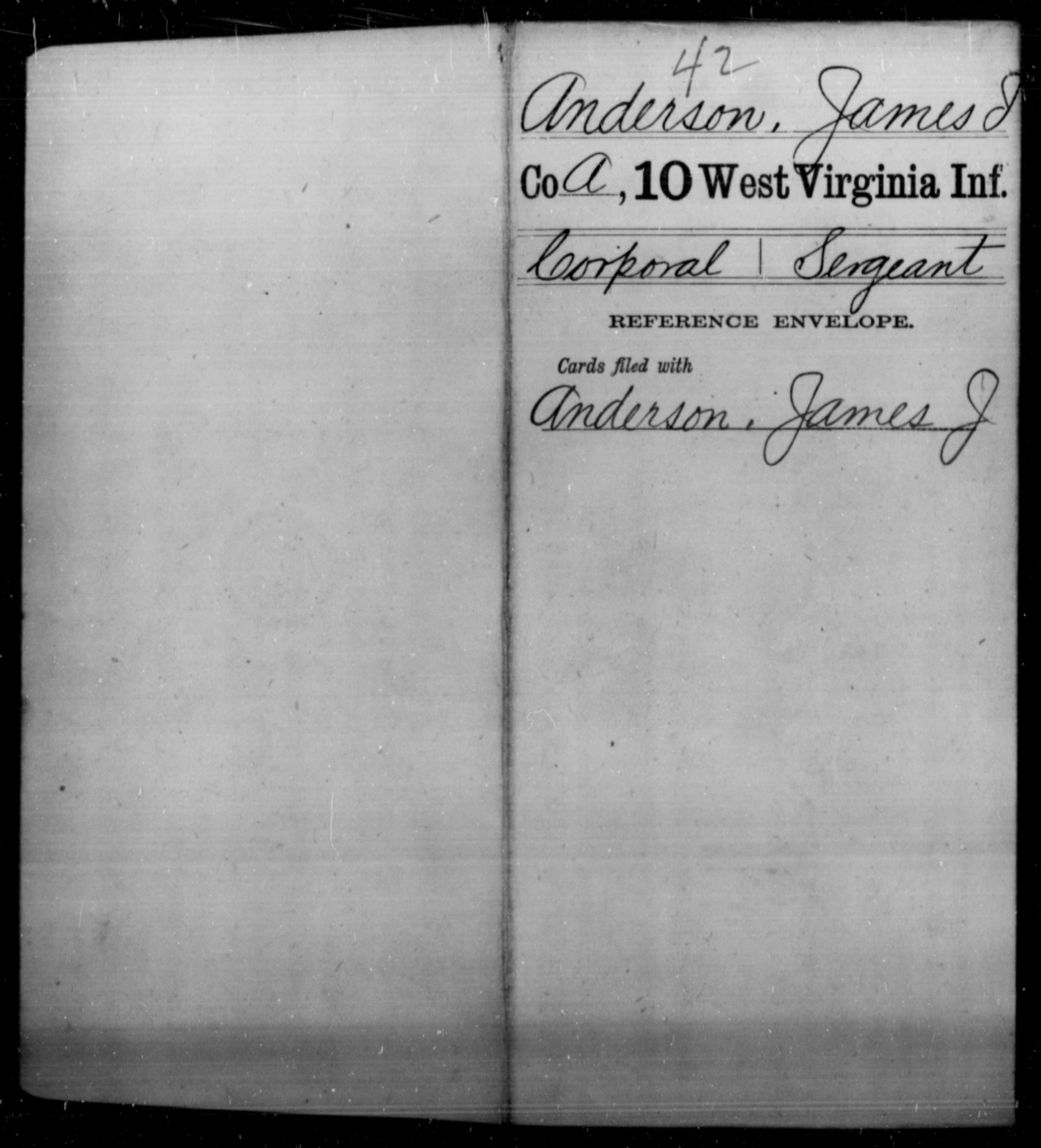 Anderson, James I - Age [Blank], Year: [Blank] - Tenth Infantry - West Virginia