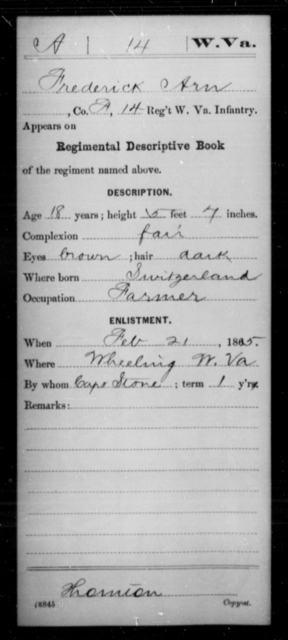 Arn, Frederick - Age 18, Year: 1865 - Miscellaneous Card Abstracts of Records - West Virginia