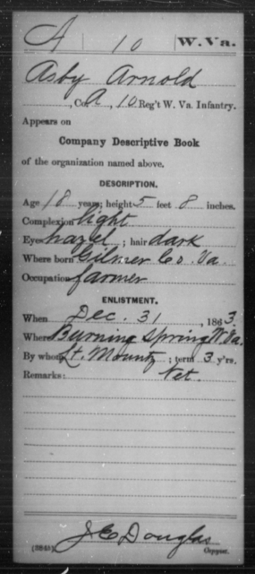 Arnold, Asby - Age 18, Year: 1863 - Miscellaneous Card Abstracts of Records - West Virginia