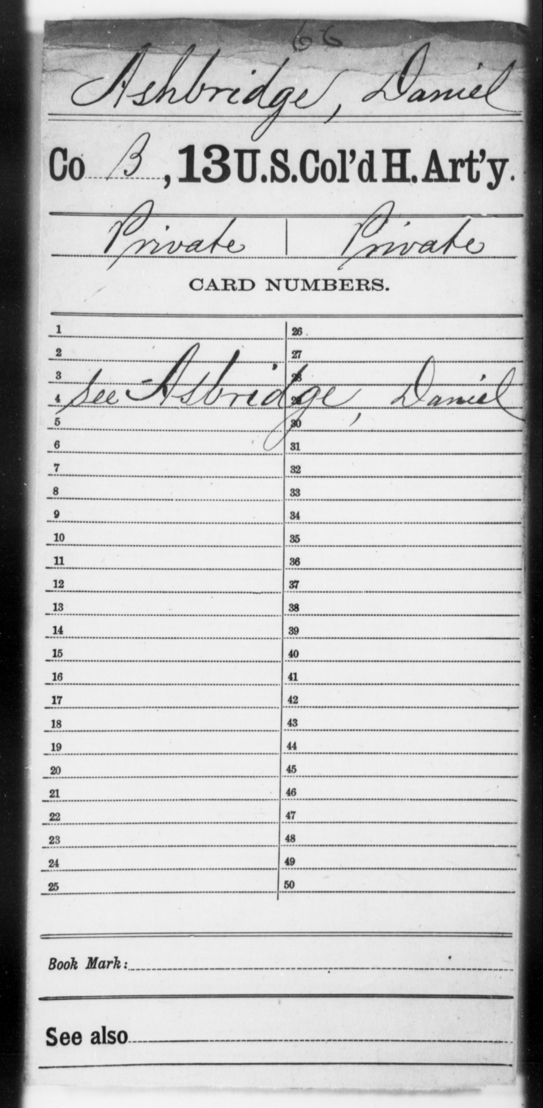 Ashbridge, Daniel - Age [Blank], Year: [Blank] - 13th US Colored Heavy Artillery - United States Colored Troops: Artillery Organizations