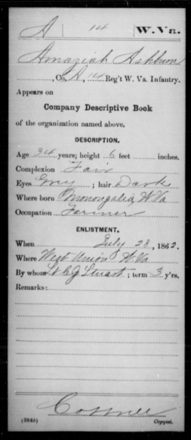 Ashburn, Amaziah - Age 34, Year: 1862 - Miscellaneous Card Abstracts of Records - West Virginia
