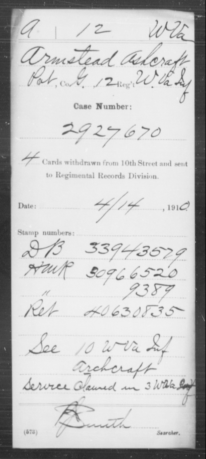 Ashcraft, Armstead - Age [Blank], Year: [Blank] - Miscellaneous Card Abstracts of Records - West Virginia