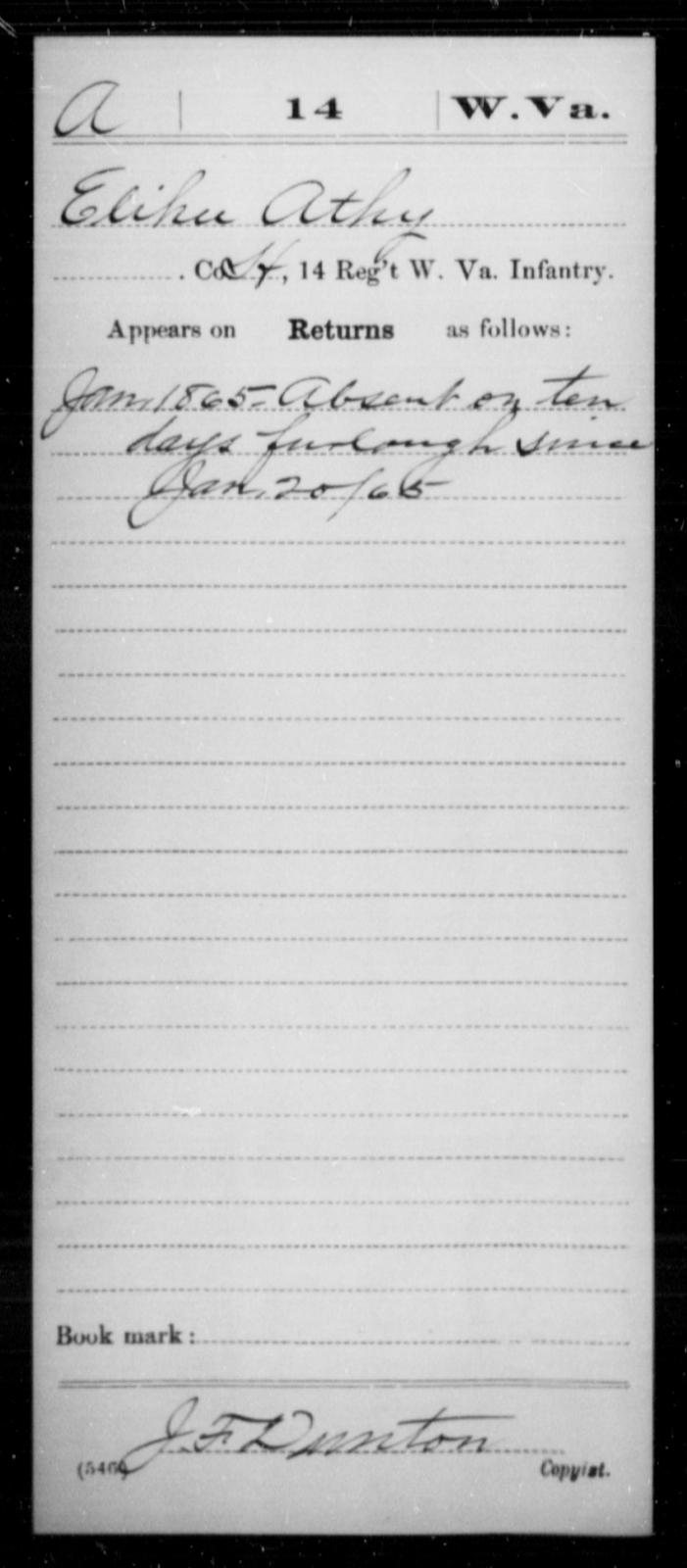 Athy, Elihu - Age [Blank], Year: 1865 - Miscellaneous Card Abstracts of Records - West Virginia