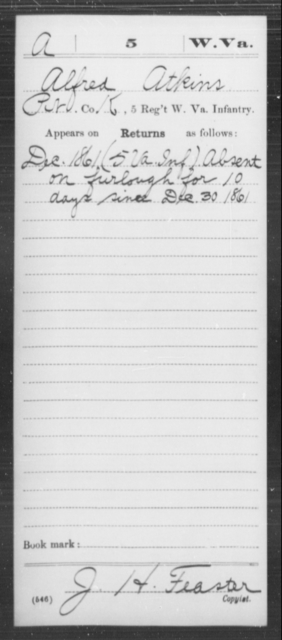 Atkins, Alfred - Age [Blank], Year: 1861 - Miscellaneous Card Abstracts of Records - West Virginia
