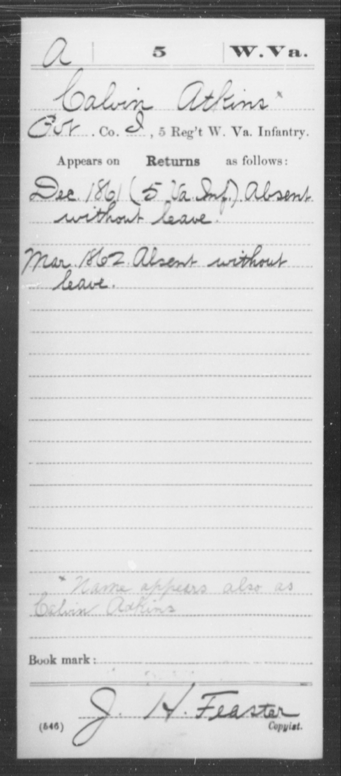 Atkins, Calvin - Age [Blank], Year: 1861 - Miscellaneous Card Abstracts of Records - West Virginia