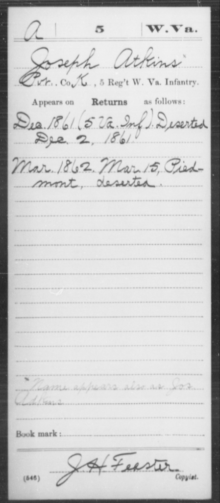 Atkins, Joseph - Age [Blank], Year: 1861 - Miscellaneous Card Abstracts of Records - West Virginia