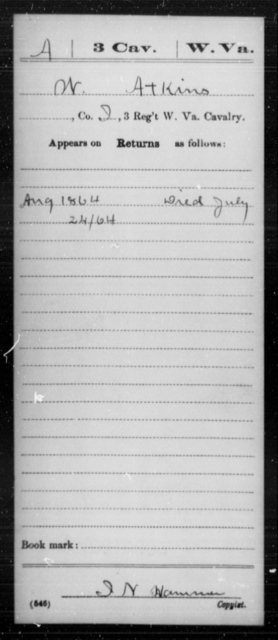 Atkins, W - Age [Blank], Year: 1864 - Miscellaneous Card Abstracts of Records - West Virginia