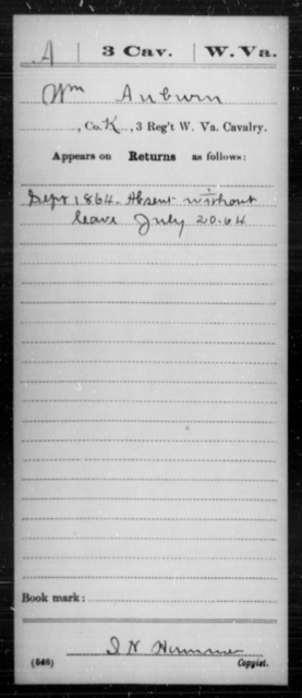 Auburn, Wm - Age [Blank], Year: 1864 - Miscellaneous Card Abstracts of Records - West Virginia