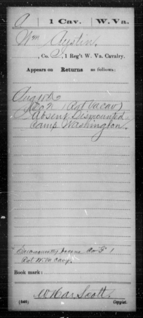 Austin, Wm - Age [Blank], Year: 1863 - Miscellaneous Card Abstracts of Records - West Virginia
