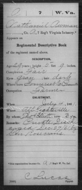 Awman, Nathaniel - Age 29, Year: 1861 - Miscellaneous Card Abstracts of Records - West Virginia