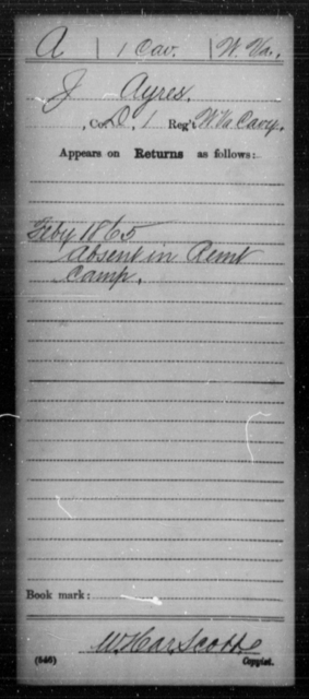 Ayres, J - Age [Blank], Year: 1865 - Miscellaneous Card Abstracts of Records - West Virginia