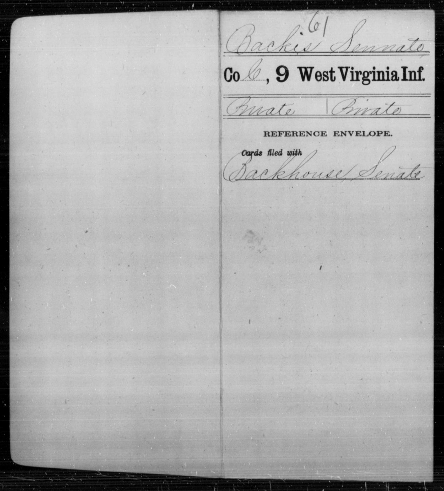 Backes, Sennate - Age [Blank], Year: [Blank] - Ninth Infantry - West Virginia