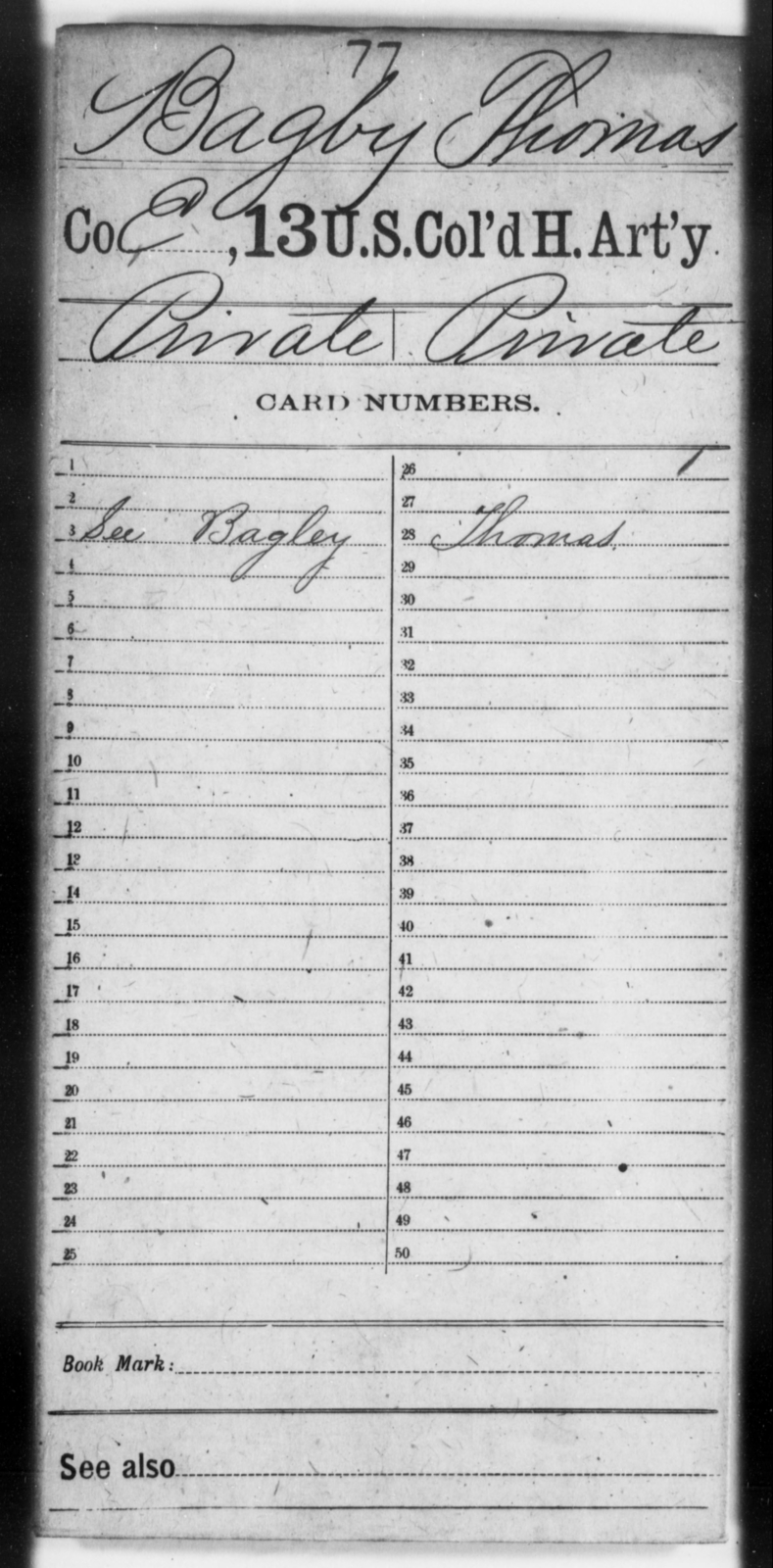 Bagby, Thomas - Age [Blank], Year: [Blank] - 13th US Colored Heavy Artillery - United States Colored Troops: Artillery Organizations