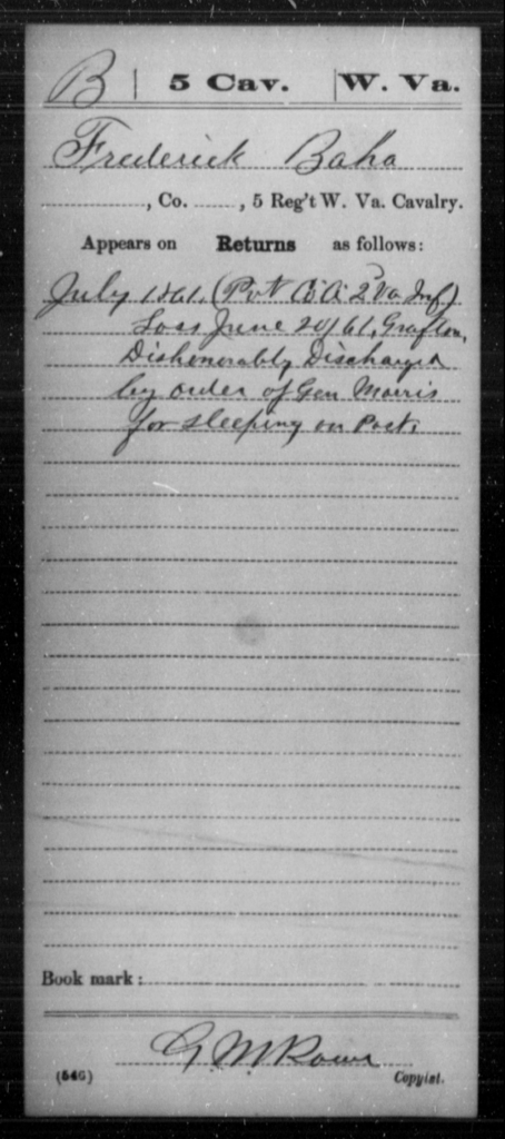 Baha, Frederick - Age [Blank], Year: 1861 - Miscellaneous Card Abstracts of Records - West Virginia