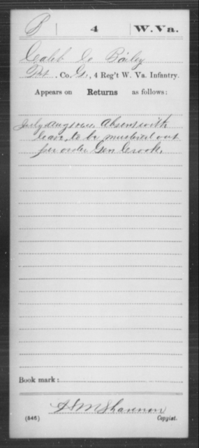 Bailey, Caleb C - Age [Blank], Year: 1864 - Miscellaneous Card Abstracts of Records - West Virginia
