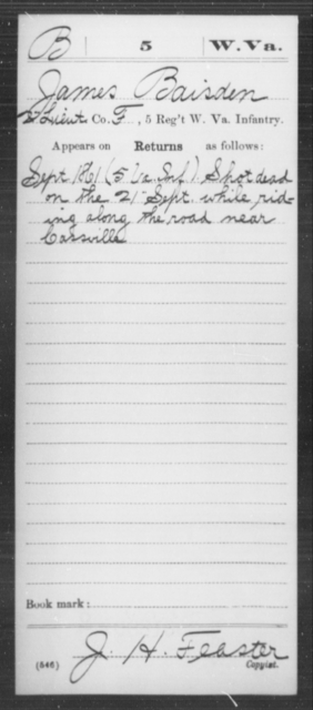 Baisden, James - Age [Blank], Year: 1861 - Miscellaneous Card Abstracts of Records - West Virginia