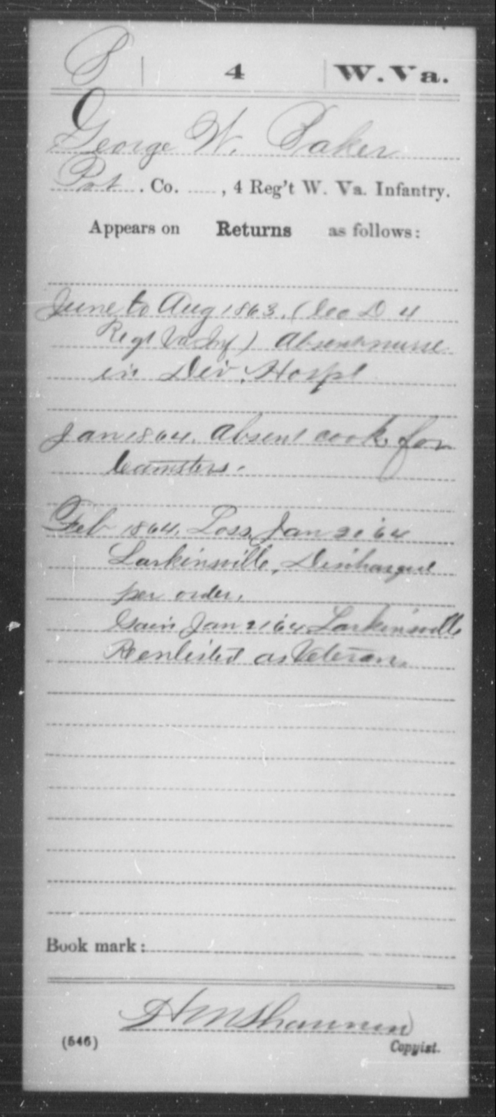 Baker, George W - Age [Blank], Year: 1863 - Miscellaneous Card Abstracts of Records - West Virginia