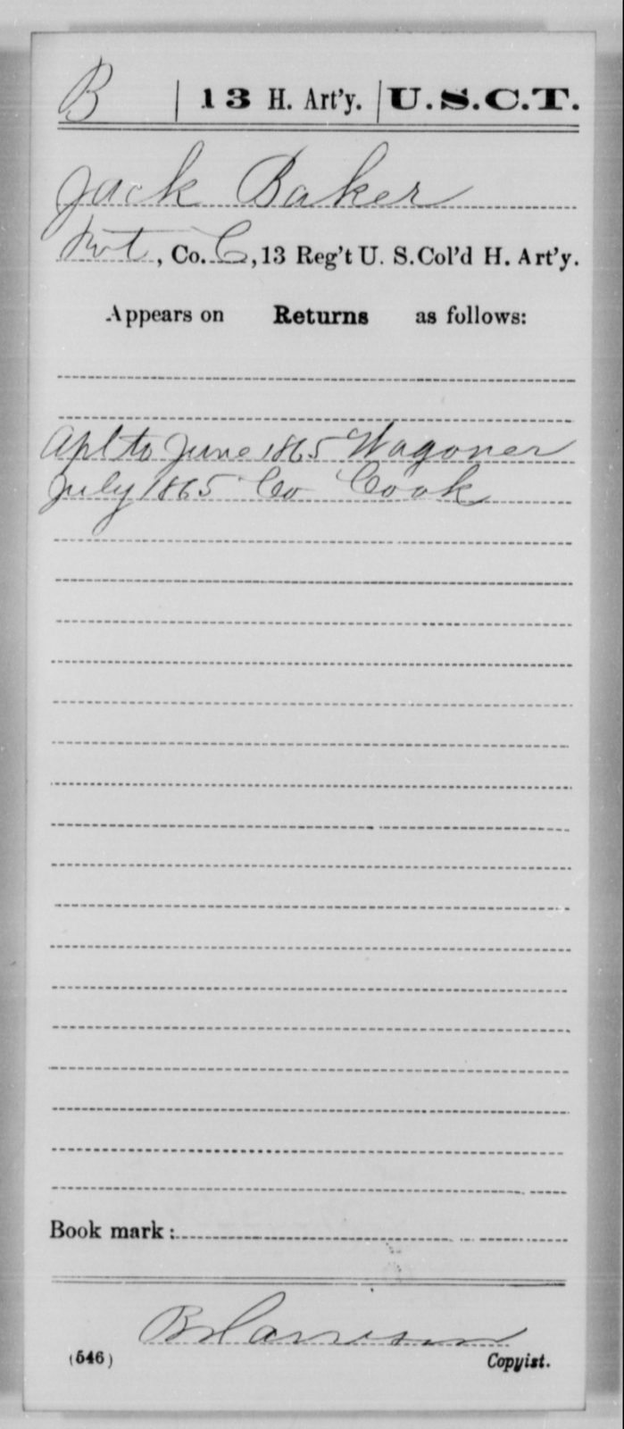 Baker, Jack - Age [Blank], Year: 1865 - 13th US Colored Heavy Artillery, Misc Cards - United States Colored Troops: Artillery Organizations