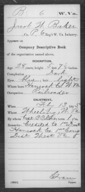 Baker, Jacob W - Age 28, Year: 1865 - Miscellaneous Card Abstracts of Records - West Virginia