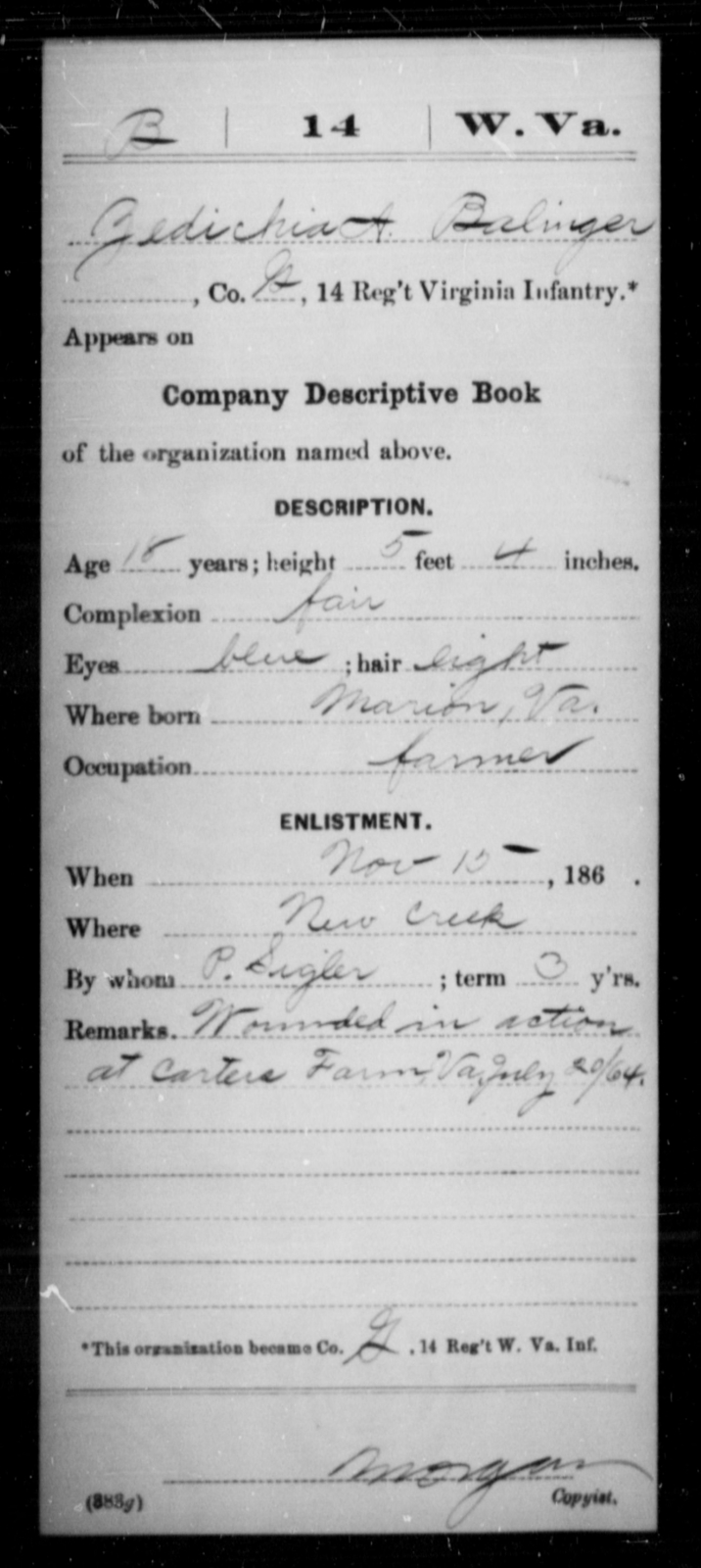 Balinger, Zadichia A - Age 18, Year: 1864 - Miscellaneous Card Abstracts of Records - West Virginia