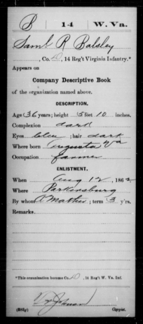 Balsley, Saml R - Age 36, Year: 1862 - Miscellaneous Card Abstracts of Records - West Virginia
