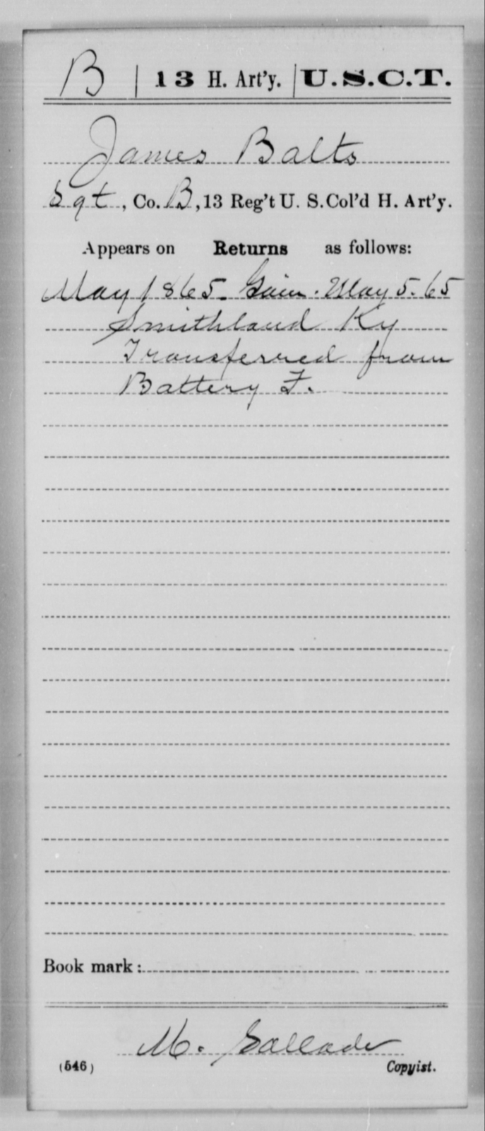 Balts, James - Age [Blank], Year: 1865 - 13th US Colored Heavy Artillery, Misc Cards - United States Colored Troops: Artillery Organizations