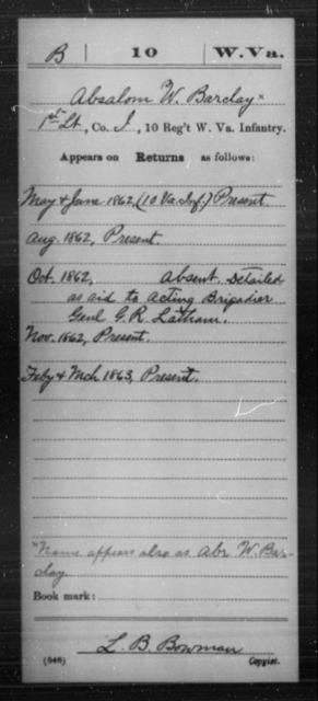 Barclay, Absalom W - Age [Blank], Year: 1862 - Miscellaneous Card Abstracts of Records - West Virginia