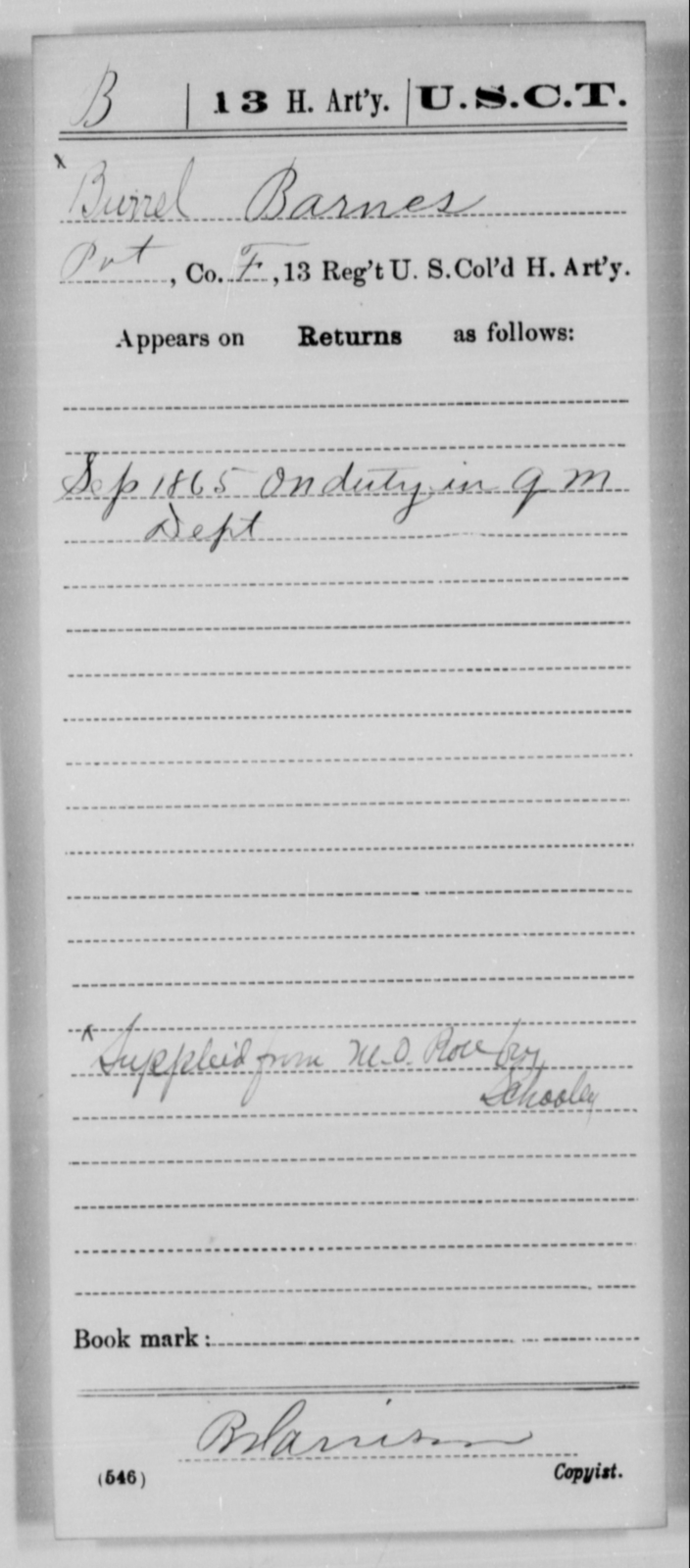 Barnes, Burrel - Age [Blank], Year: 1865 - 13th US Colored Heavy Artillery, Misc Cards - United States Colored Troops: Artillery Organizations