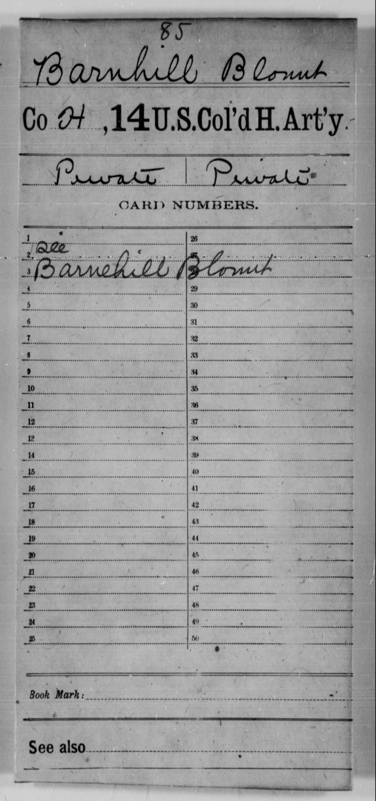 Barnhill, Blonut - Age [Blank], Year: [Blank] - 14th US Colored Heavy Artillery - United States Colored Troops: Artillery Organizations