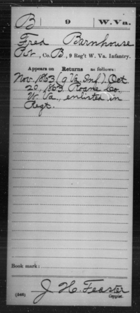 Barnhouse, Fred - Age [Blank], Year: 1863 - Miscellaneous Card Abstracts of Records - West Virginia