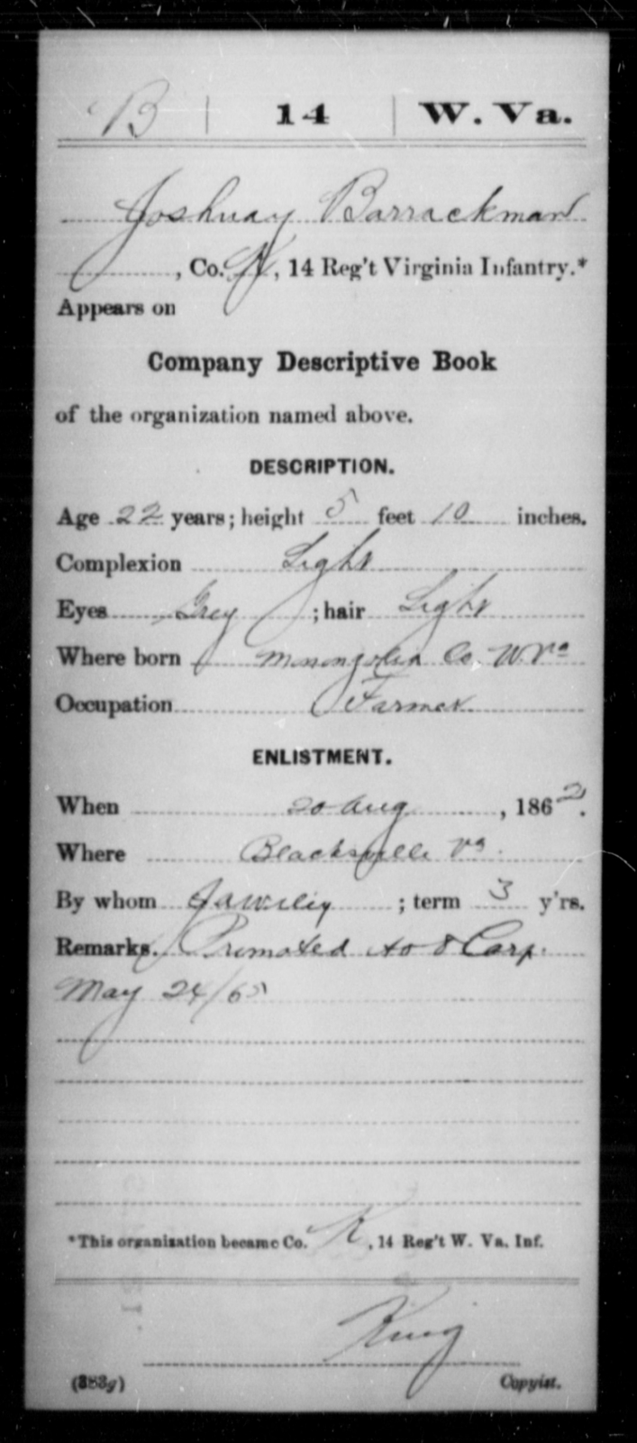 Barrackman, Joshnay - Age 22, Year: 1862 - Miscellaneous Card Abstracts of Records - West Virginia