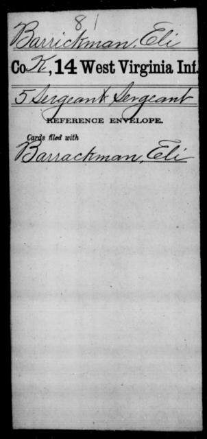 Barrickman, Eli - Age [Blank], Year: [Blank] - Thirteenth Infantry, Y-Z AND Fourteenth Infantry, A-B - West Virginia