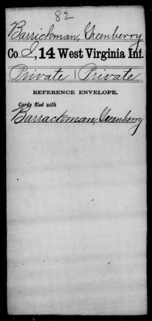 Barrickman, Greenberry - Age [Blank], Year: [Blank] - Thirteenth Infantry, Y-Z AND Fourteenth Infantry, A-B - West Virginia