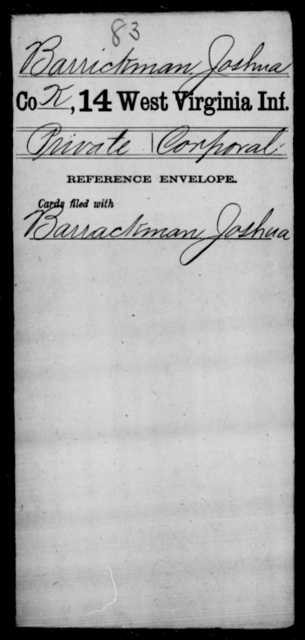 Barrickman, Joshua - Age [Blank], Year: [Blank] - Thirteenth Infantry, Y-Z AND Fourteenth Infantry, A-B - West Virginia