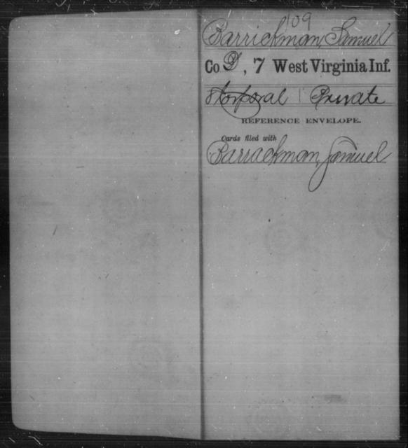 Barrickman, Samuel - Age [Blank], Year: [Blank] - Seventh Infantry - West Virginia