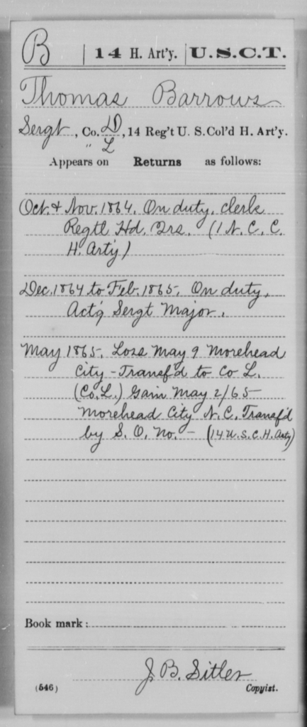 Barrows, Thomas - Age [Blank], Year: 1864 - 14th US Colored Heavy Artillery, Wi-Y AND Misc Cards - United States Colored Troops: Artillery Organizations