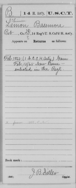 Basemore, Lemon - Age [Blank], Year: 1865 - 14th US Colored Heavy Artillery, Wi-Y AND Misc Cards - United States Colored Troops: Artillery Organizations