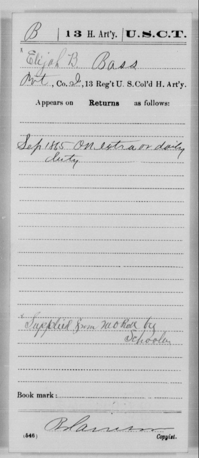 Bass, Elijah B - Age [Blank], Year: 1865 - 13th US Colored Heavy Artillery, Misc Cards - United States Colored Troops: Artillery Organizations