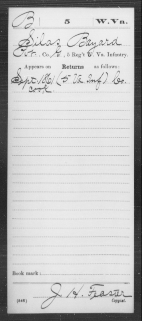 Bayard, Silas - Age [Blank], Year: 1861 - Miscellaneous Card Abstracts of Records - West Virginia