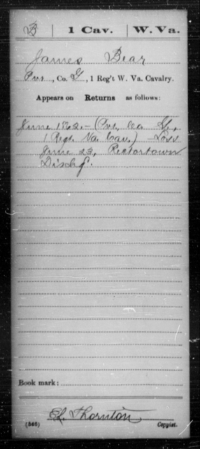 Bear, James - Age [Blank], Year: 1862 - Miscellaneous Card Abstracts of Records - West Virginia