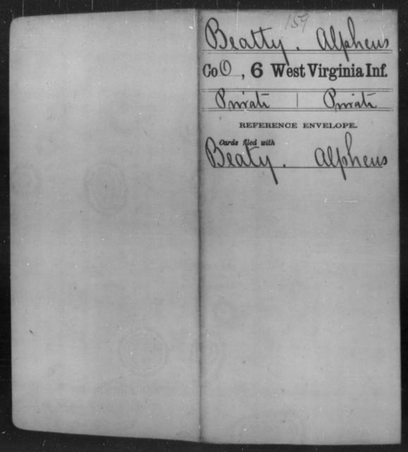 Beatty, Alpheus - Age [Blank], Year: [Blank] - Sixth Infantry - West Virginia