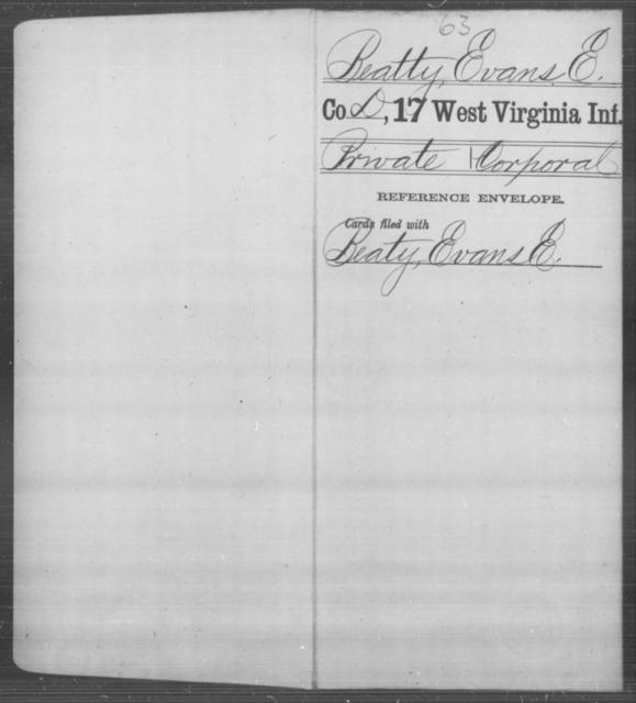 Beatty, Evans E - Age [Blank], Year: [Blank] - Seventeenth Infantry - West Virginia