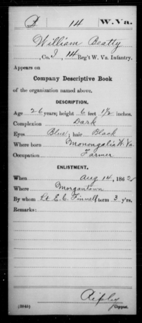 Beatty, William - Age 26, Year: 1862 - Miscellaneous Card Abstracts of Records - West Virginia