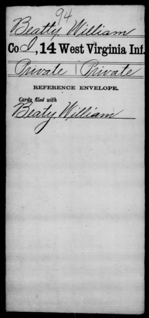 Beatty, William - Age [Blank], Year: [Blank] - Thirteenth Infantry, Y-Z AND Fourteenth Infantry, A-B - West Virginia