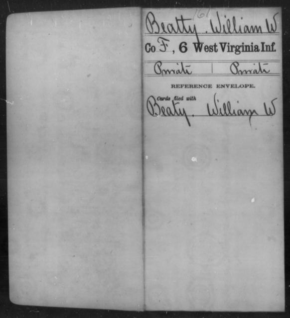 Beatty, William W - Age [Blank], Year: [Blank] - Sixth Infantry - West Virginia