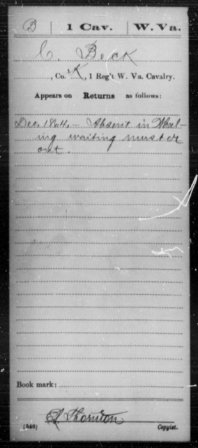Beck, C - Age [Blank], Year: 1864 - Miscellaneous Card Abstracts of Records - West Virginia